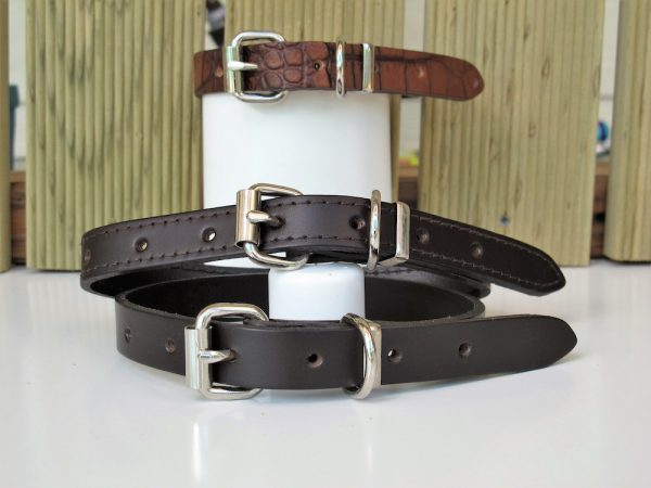 "Leather Dog Collar 3/4"" Various Styles Front View"