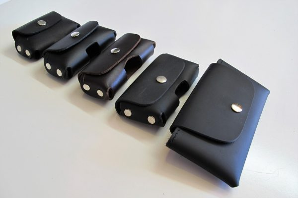 Leather Phone Pouches Horizontal Styles Angled View