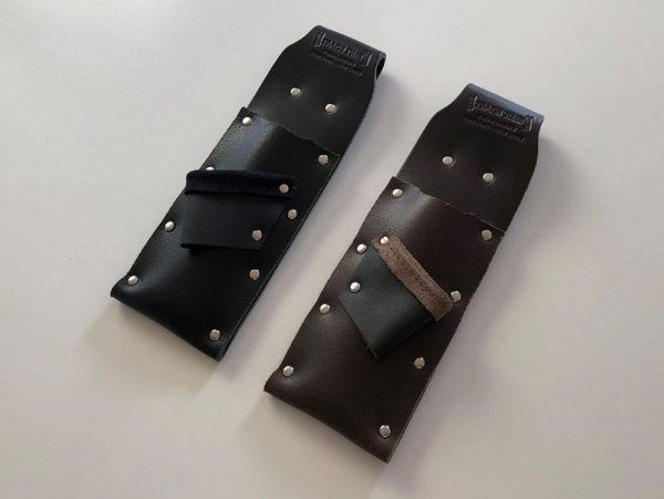 2 x Single Leather Chisel Pouches with Square Holder Angled