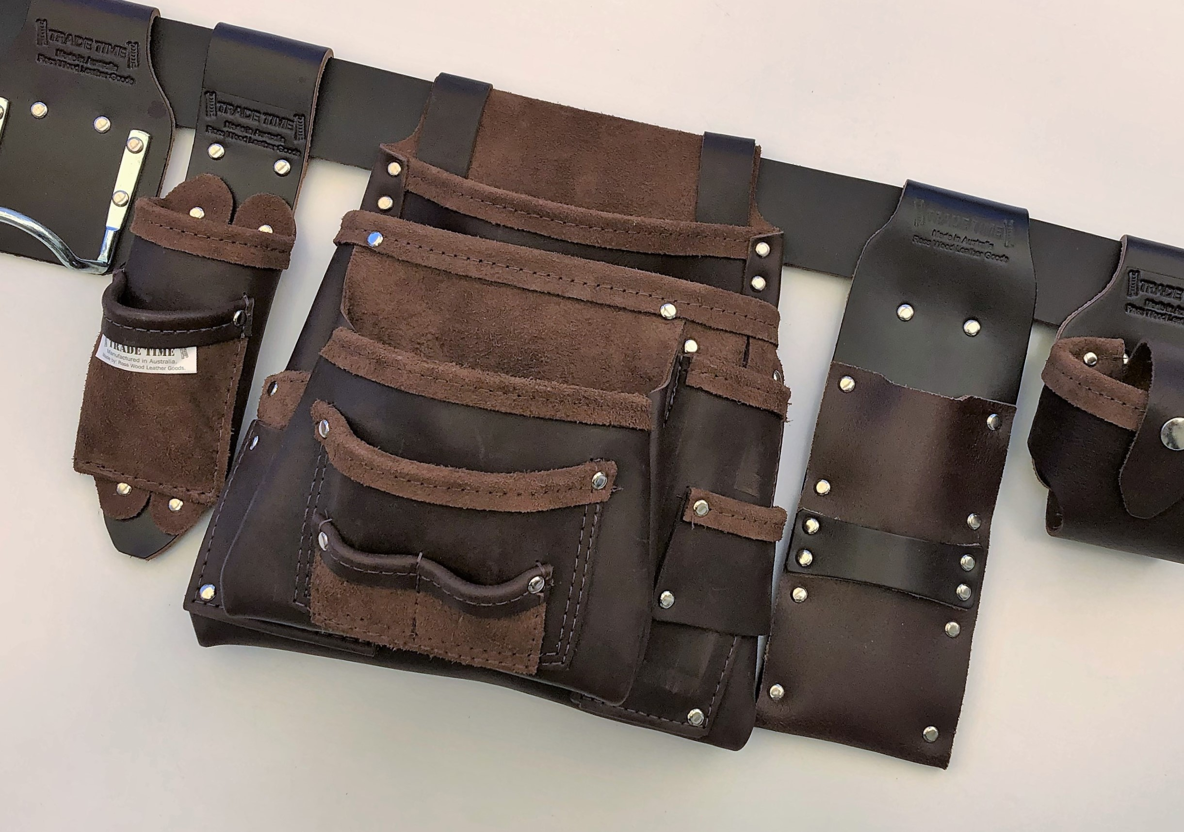 Ultimate Tradie Leather Tool Bag Front Angled